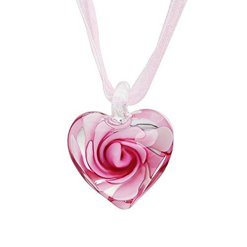 Caimeytie Damen Halskette Rosenglas Herzförmige Anhänger Blase Blumen-Anhänger mit Kette Garn-Band