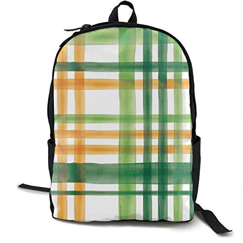 Irish Plaid - Watercolor with Orange - St Patricks Day Adult Premium Travel Backpack, Water-Resistant College School Bookbag, Sport Daypack, Outdoor Rucksack, Laptop Bag for Men&Women