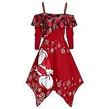 Dorical Damen Weihnachten Outfit Schwarz Minikleid Wickelkleid Heiligabend Kleidung Schicke Elegant Casual Schicke weihnachtskleider Vintage Kleid Damenkleider für Weihnachts (XXXX-Large, Z4-Rot)