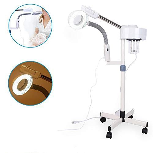 DANTB 2en1 Facial Steamer LED 5X Lupa Lámpara de pie Máquina Multifunción SPA Humidificador Profesional Belleza Facial Limpieza de Cuidado de la Piel (Blanco)