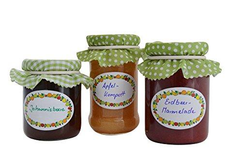 Einmachetiketten 100Stk. in Spenderbox, selbstklebend für Marmelade, Einmach- und Gewürzgläser
