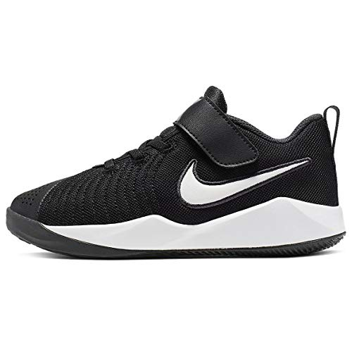 Nike Team Hustle Quick 2 (PS) Basketball Shoe, Black White Anthracite Volt, 32 EU