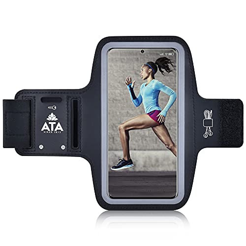 Brazalete de running para Samsung Galaxy S21/S20/S10/S9/S8 antideslizante a prueba de sudor con ranuras para llaves/auriculares para teléfonos de hasta 6.2 pulgadas, perfecto para correr, gimnasio