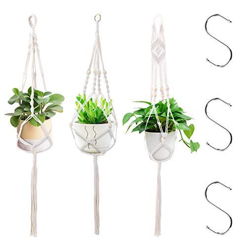 Macetero de macramé para Plantas Decorativos Interior y Exterior Soporte para Plantas Colgantes Blanco 3 Styles, 105 cm