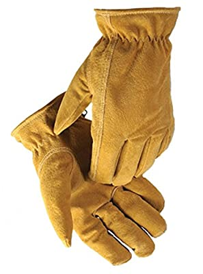 Caiman Heatrac Insulated Leather Gloves Gold Pig Split with Drivers