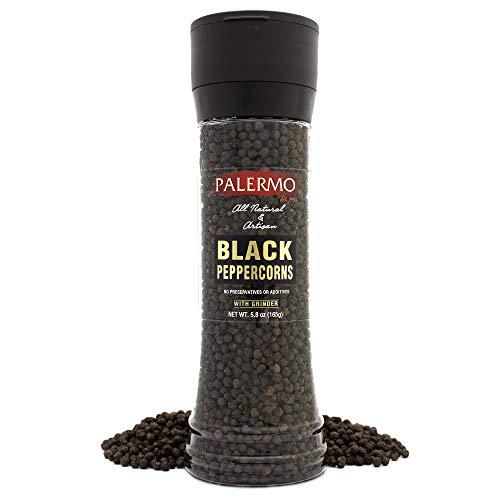 Palermo Black Peppercorn with Grinder, Kosher, All Natural, No Additives, 6oz