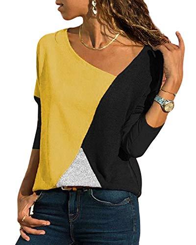 YOINS Camiseta Mujer de Manga Larga Blusa con Hombros Fríos Camisa Casual Camisetas a Rayas Cuello Redondo Imprimiendo Pullover Amarillo 34 EU(XS)