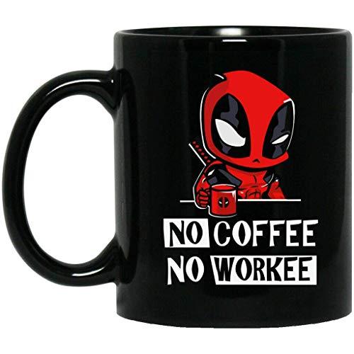 N\A Deadpool, kein Kaffee, kein Workee, lustiger Becher, schwarzer Kaffeebecher Halloween-Becher