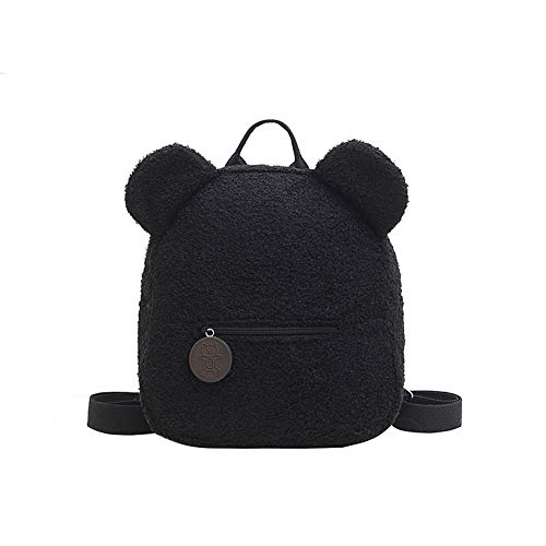 Zaino in peluche per la scuola, grazioso zaino a forma di orso, in pile, per donne e bambini, in lana d'agnello, (stile 5), Schwarz