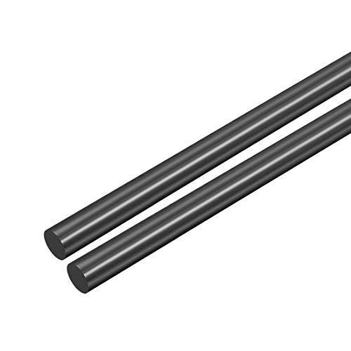 sourcing map 2Stk. POM-Rundstab, 4 mm Durchmesser, 50 cm Länge, schwarzer Rundstab aus technischem Kunststoff