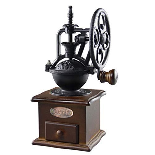 MEIGONGJU Vintage Holzschleifer manuelle Kaffeemaschine für Heimtextilien Jahrgang manuelle Kaffeemühle mit Raddesign mit Keramik-Bewegung