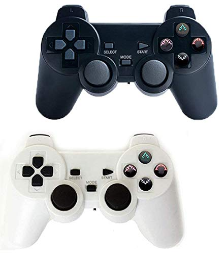 Wireless Controller for PS2 Playstation 2 Dual Shock(Pack of 2,Black and White)