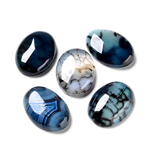 Fashewelry 20Pcs Natural Oval Dragon Veins Agate Flat Back Gemstone Cabochons 25x18mm Healing Chakra Crystal Stone Bead Cab Covers No Hole for Jewelry Craft Making (Marine Blue)