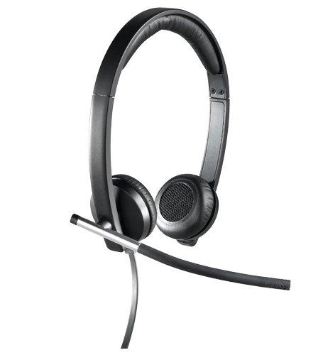 Logitech H650e Cuffie Cablate, Stereo Con Microfono a Cancellazione di Rumore, USB, Controlli in Linea, Indicatore LED, Compatibili con PC/Mac/Laptop, Nero