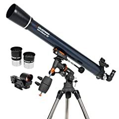 POWERFUL REFRACTOR TELESCOPE: The Celestron AstroMaster 90EQ Refractor telescope is a powerful and user-friendly refractor telescope. It features fully-coated glass optics, a sturdy and lightweight frame, two eyepieces, a StarPointer red dot findersc...