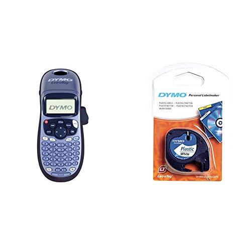 Dymo LetraTag LT-100H Etikettendrucker Handgerät + S0721660 Etikettenband (LetraTag-Etikettiergeräte, Kunststoff, 12 mm, 4-Meter-Rolle) schwarz auf weiß