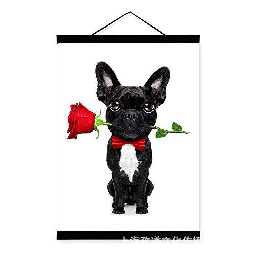 TFFBO Arte Ligero Amor Moda Bulldog francés de Madera Colgante Pintura de...