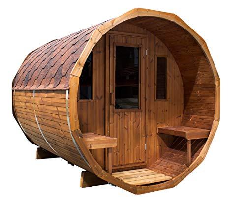 bambus-discount.com Saunafass liegend, Bausatz - Sauna für draussen Gartensauna