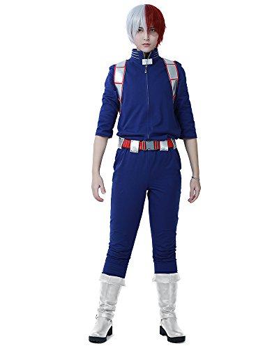 miccostumes Men's Shoto Todoroki Cosplay Costume Uniform (L) Blue