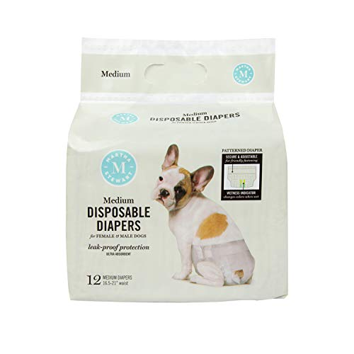 MARTHA STEWART for Pets Female Dog Diapers | Disposable Female Dog Diapers Size Medium 16.5'-21' Waist | 12 Pack Disposable Dog Diapers, Leakproof and Absorbent Female Dog Diapers for Medium Dogs