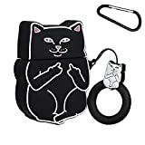 Mulafnxal Compatible with Airpods 1&2 Case,Silicone 3D Cute Fun Animal Cartoon Funny Character Airpod Cover,Kawaii Fashion Stylish Chic Design Skin, Cases for Teens Girls Boys Air pods(Black Cool Cat)