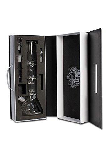 PatchouliWorld Bong Black Leaf Deluxe im edlen Koffer, Höhe: 36cm Wandstärke 5mm Top Qualität, Ölkopf, 6-Arm Perkolator