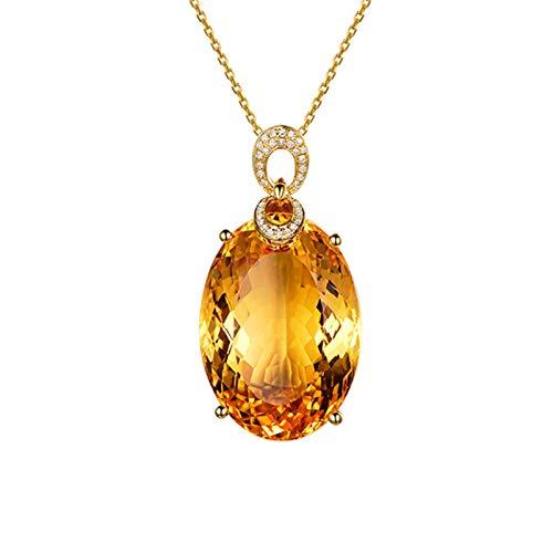Bishilin Oro Amarillo 18K EURena Oro 18K Mujer Amarillo Citrino Collares Pendientes Forma Ovalada de Cuatro Garras Colgante con EURena Amarillo Collar para Aniversario de Boda Longitud45Cm