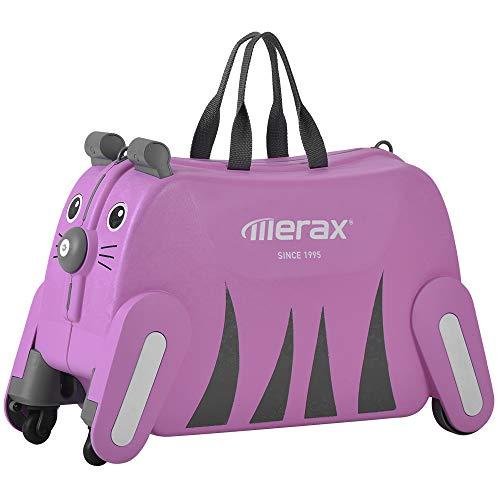 Merax キズ用 スーツケース 子ども乗れる キャリーケース キャリーバッグ 座れる かわいい 機内持込 軽量 (タイガー, ピンク)