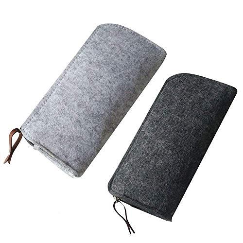 2 Piezas Bolso de Fieltro Lápiz,Estuche Bolsa de Lápiz, Multi-Funcional papelería Bolsa Zipper para Bolígrafos, Lápices, Bolígrafos de Gel, Marcadores (Negro y Gris)