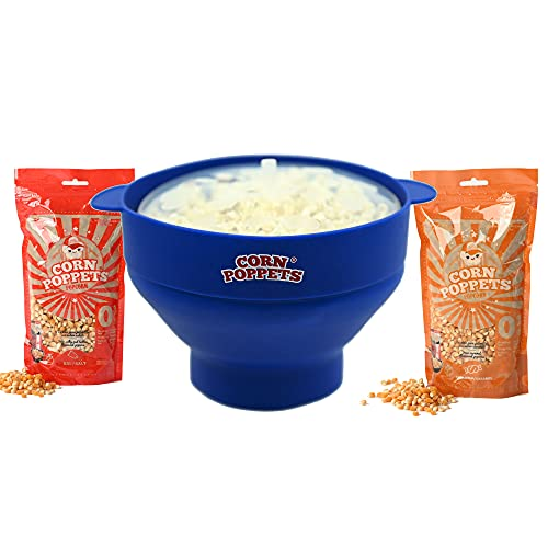 CORN POPPETS   Palomitero para Microondas de Silicona   Recipiente para Hacer Palomitas en el Microondas sin Aceite   Color Azul + 2 Bolsas de Granos de Maiz Sabor Dulce y Salado