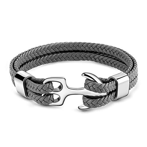 GNOCE Anchor Leather Bracelet for Men Braided Genuine Leather Bracelet with Stainless Steel Punk Wrist Cuff Bracelet Gift For Men (Gray, 19)