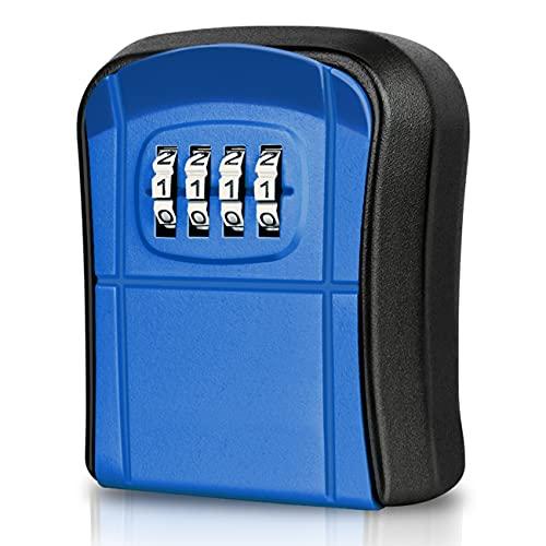 WACCET Caja Seguridad Llaves Exterior Mini Caja Fuerte para Llaves Montado en la Pared Impermeable Caja Llaves Código con Combinación 4 Dígitos Reiniciables para Hogar Garaje Oficina Escuela (Azul)