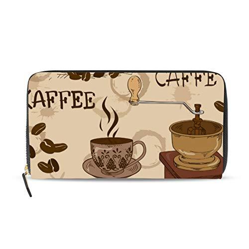 XiangHeFu portefeuille vrouwen portemonnee clutch tas rits koffie patroon leer