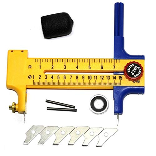 QUUY - Cortador Circular de brújula, Patchwork, Herramientas para Cortar Tarjetas de Papel, Piel, con 6 Cuchillas y 2 núcleos de Plomo (diámetro: 1 cm ~ 15 cm)