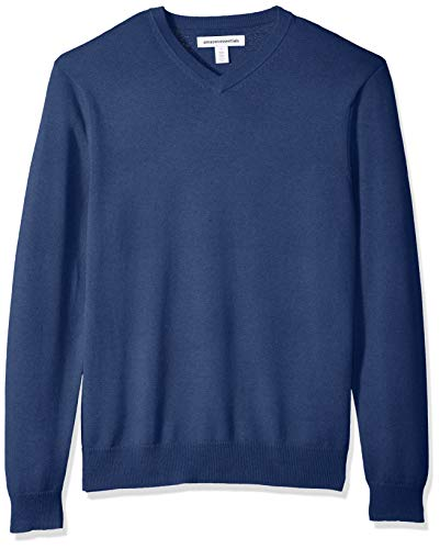 Amazon Essentials Men's V-Neck Sweater, Blue Heather, Large
