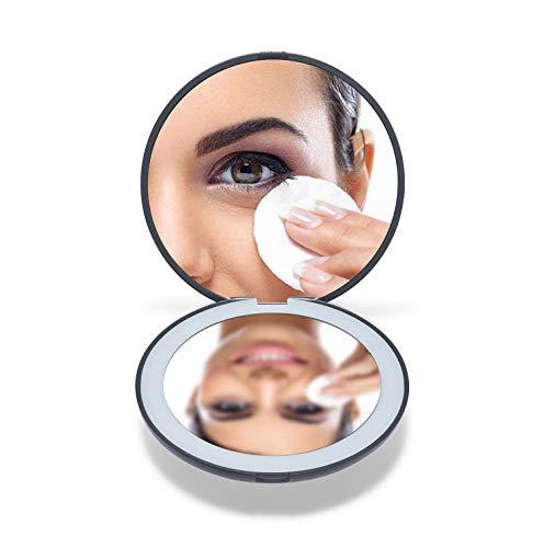 """OMIRO LED Kompaktspiegel , 3½\"""" Mini Taschenspiegel Beleuchtet , 1X/10X Vergrößerung Taschenspiegel, Make-up-Spiegel für Geldbeutel (Schwarz)"""
