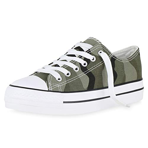 SCARPE VITA Damen Plateau Sneaker Turnschuhe Schnürer Basic Plateauschuhe 174305 Camouflage 39