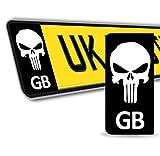 SkinoEu® 2 x Vinyl Aufkleber Nummernschild Kennzeichen Punisher Skull Scädel Totenkopf Stickers GB Großbritannien Flagge JDM Tuning Auto Motorrad EU QV 36