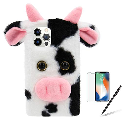 Milk Cow Case for Samsung Galaxy S21 Plus 6.7 Inch, Girlyard Cute 3D Cartoon Dairy Cattle Fluffy Hairy Silicone Cover Fuzzy Warm Faux Stuffed Plush Soft Furry Protective Shell for Women Girls - Black