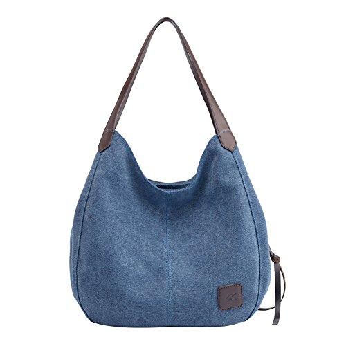 PB-SOAR Damen Mädchen Modern Canvas Shopper Schultertasche Handtasche Henkeltasche Hobo Bag Beuteltasche (Blau(Denim))