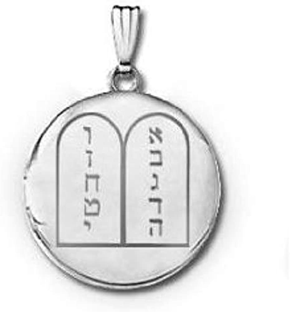 PicturesOnGold.com 14k White Gold Ten Commandments Round Locket 3/4 in X 3/4 in