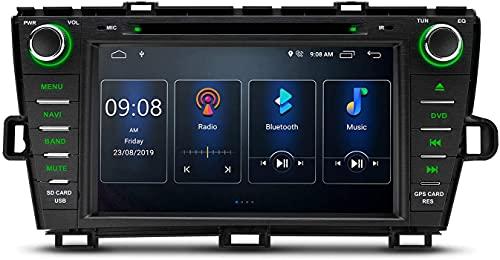 Android 10 Car Stereo Bluetooth Pantalla IPS de 8 pulgadas Navegación GPS Reproductor de DVD Unidad principal DSP integrado Admite salida RCA completa CarAutoPlay BT5.0 1080P DVR DAB + para Toyota Pr
