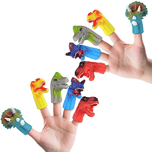 LDP FUQUAN 10 PCS Rubber Realistic Dinosaur Finger Set Role Playing Toys ,Kids Party Supplies, Kids Birthday Gifts,Suitable Toys for Kids and Adults