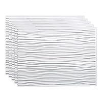 FASÄDE Waves 装飾ビニール 18インチ x 24インチ バックスプラッシュパネル グロスホワイト (5パック)