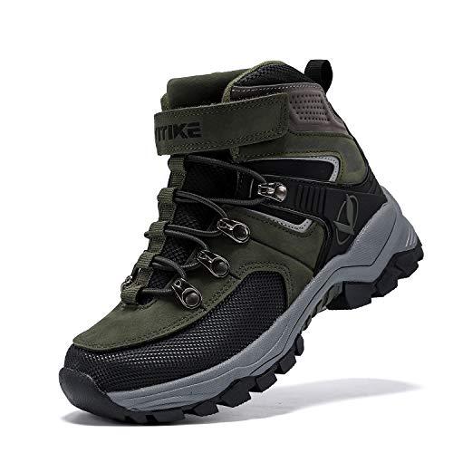 Kids Hiking Boots Boys Girls Outdoor Walking Climbing Sneaker Comfortable Non-Slip Snow Shoes Hiker Boot Antiskid Steel Buckle Sole Green 4.5 Big Kid