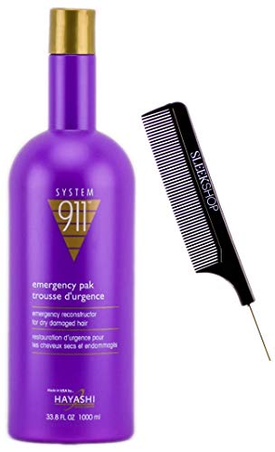 Hayashi SYSTEM 911 Emergency Pak Reconstructor Rinse-Out Super Conditioner (w/Sleek Comb) Emergency Pack Repair for Dry, Damaged Hair (33.8 oz / 1000 ml - LARGE LITER SIZE)