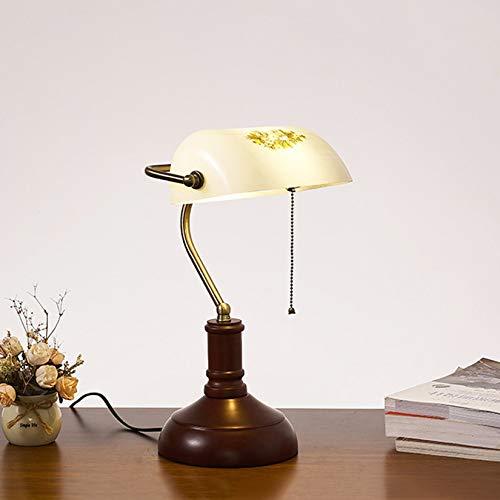 Lámpara de banquero tradicional Lámpara de mesa con pantalla de cristal blanco floral antiguo Lámpara de escritorio de piano con base de madera redonda para estudio Lectura Dormitorio Sala de estar