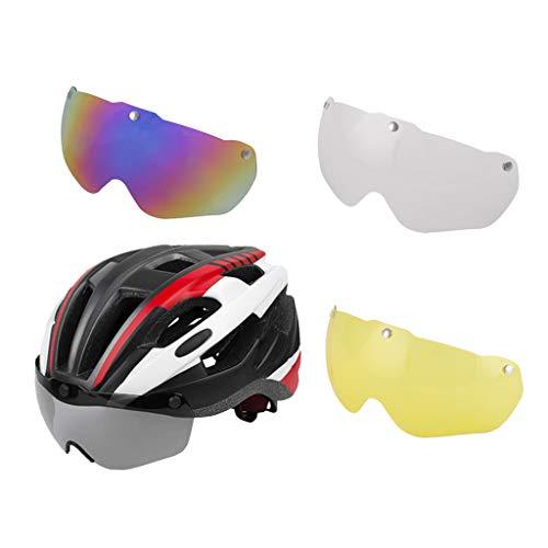 B Baosity Casco de Ciclismo Ajustable con Gafas Casco de Bicicleta con Lente Magnética de Protección UV