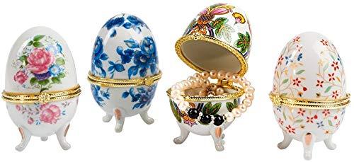 Genius Ideas Porzellan-Geschenk-Eier, Ostereier zum Öffnen, Dekore Dekoration detaillierte Motiv-Eier 4 Stück, 11 x 11 x 9 cm