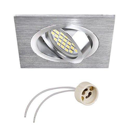 GU10 Support carré pour spot encastrable, orientable en aluminium brillant/satiné, 50 mm